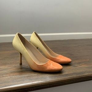 Prada Womans Size 7.5 US Orange Cream Ombré Heels